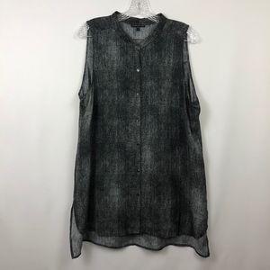Eileen Fisher 100% Silk Textured Print Tank Top
